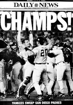 1998 Yankees winning world series newspaper. Considered one of the greatest teams ever if not the greatest