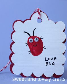 love bug thumb prints, or use palms of toddlers or babies.  Got a case of the love bugs. :-)