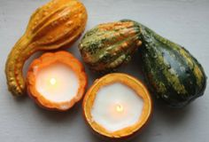 DIY candles made from hollowed-out gourds