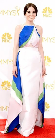 Michelle Dockery looked stunning in a modern Rosie Assoulin Gown at the 2014 Emmys.
