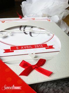 faire-part-mariage-pacs-enchanté-rouge-blanc-nacré www.sweetpaper-fairepart.fr