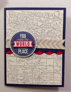 InkyPinkies: World Map Masculine Card. Stampin' Up Starburst Sayings with coordinating Framelits, World Map background stamp.  Beginner level card.