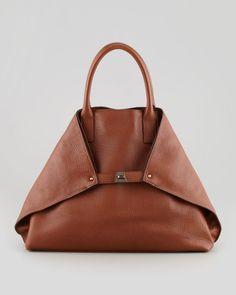 Akris Ai Cervo Medium Leather Messenger Bag, Brown