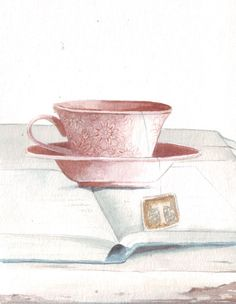 Original watercolor painting coral pink tea cup by HelgaMcL