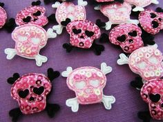 50pc Pink & Black Sequin Halloween Cute Skull (H2)