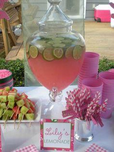Pink lemonade with limes.. Bridal shower idea :)