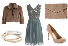how to wear a dress in the winter   Modcloth embellished dress   Dorothy Perkins faux fur mink caplet ...
