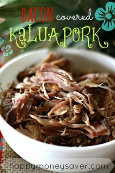 Bacon Covered Kalua Pork Recipe- Crock pot meal that is so simple to make it's ridiculous! Recipe can also be made into a freezer meal! Best Kalua Pork Recipe ever!