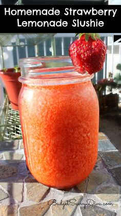 Homemade Strawberry Lemonade Slushie Will ROCK YOUR World! Ingredients  1.5 Cups of Ice, 1/2 Cup of Water, 1/2 Cup of Lemon Juice, 5 Strawberries-Diced, 1/4 Cup of Sugar.  Direction:  Place all the ingredients in to a blender.  Blend till well combined ( You can add a shot of your favorite liquor )  Enjoy!!!!