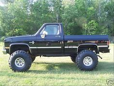 1986 Chevy pickup with lift.