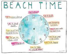 Beach Time Clock Sandy Gingras Print