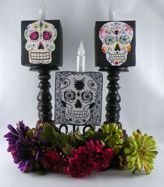 Gina Tepper of Gift Design used battery operated candles from Lights for All Occasions to create these #DIY #Halloween decorations!