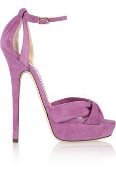 Jimmy Choo Greta Suede Sandals in Purple (Lilac) | Lyst