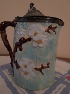Antique Majolica Syrup Pitcher in Dogwood $85.00 antiqu majolica