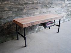 Console/desk w/steel pipe legs and built in shelf. Etsy, UrbanWoodGoods