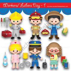 Instant Download Printable Clipart Clip Art Digital PDF PNG File Labor Worker Day Baby Boy Girl 1 from Wonderful Dreamland on TeachersNotebook.com -  (19 pages)  - baby boy, baby girl, farmer, teacher, technician, nurse, fireman, police woman