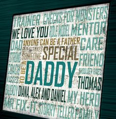Personalized Fathers day art- Anyone can be a father quote, there is only one daddy- special gift for new dad or grandpa- green child decor, via Etsy.