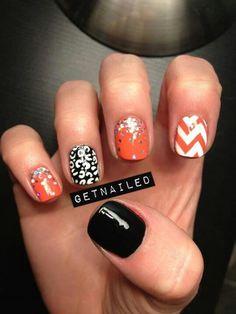 orang, color, nail designs, cheetah nails, manicur, nail arts, black white, halloween nails, chevron nails