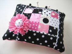 pink and black patchwork pincushion
