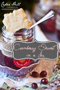 Delicious (and beautiful!) cranberry dessert in a jar.
