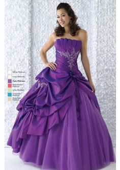 Plum Strapless Quinceañera Dress Sweet Sixteen Dress. Strapless Quinceañera gown with fan pleating along with the bust line. Embroidery and beading work accented to the bodice parts, and add more exquisite to the whole dress. Asymmetrical draped skirt covered by tulle underlay.