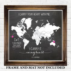 Long Distance Relationship Gift Ideas, Military Deployment Air Force Navy Coast Guard Girlfriend Boyfriend Wife Husband, Chalkboard Map Art on Etsy, $20.00
