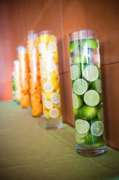 citrus centerpieces grapefruit party theme orange lemon lime tangerine yellow green decor