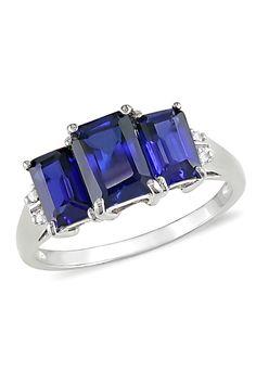 3.5ct Created Blue Sapphire & Diamond 10k Gold Ring