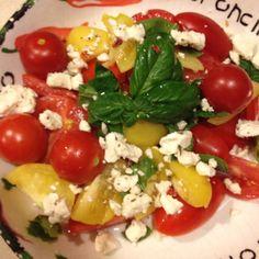 Tomato abs Thai Basil salad with Feta