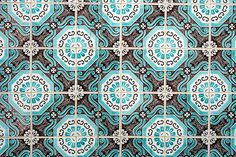 Tile Pattern :: Brown & Aqua