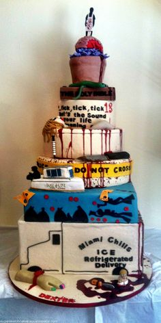 An 8 tiered Dexter cake! Why didn't I do this for the show's finale?  I just sat there and cried