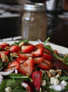 Spinach, Strawberry and Walnut Salad with Raspberry Balsamic Vinaigrette