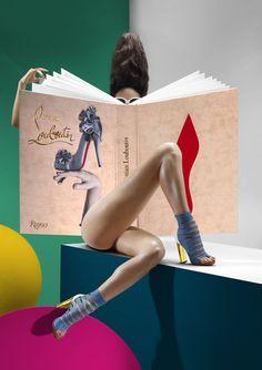 christians, telling time, fashion styles, window displays, heel, shoe designs, christian louboutin, big books, window art