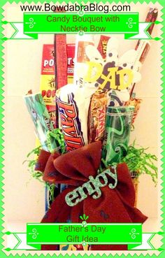 {Fathers Day Gift Idea} Candy Bouquet with Necktie Bow