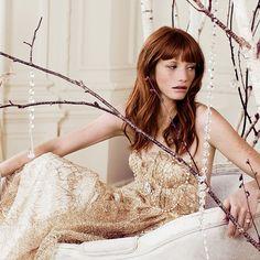 Sarah Seven gold wedding dress