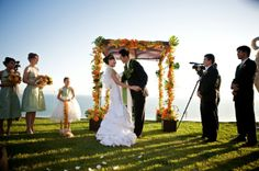Orange and Lime green wedding arch,