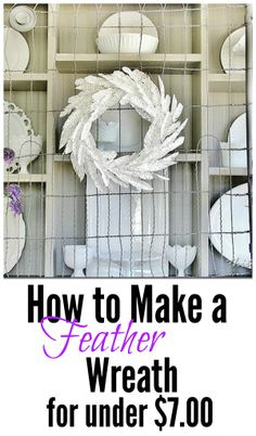 Make your own paper feather wreath for under $7.00.  Easy diy project in under an hour!  thistlewoodfarms.com