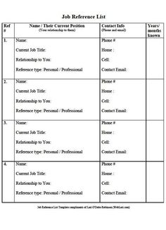 personal reference list template .