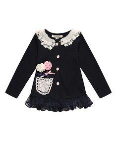 Loving this Navy Lace Flower Cardigan - Toddler & Girls on #zulily! #zulilyfinds