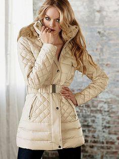 VS* | Quilted Puffer Coat victoria secrets, fashion, winter coat, style, jackets, trim puffer, fauxfur trim, coats, quilt fauxfur