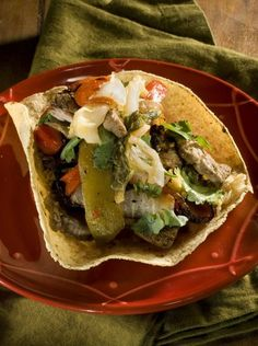 Korean-Style Grilled Beef and Vegetables on Crisp Tortillas