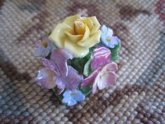 Vintage COALPORT Bone China Floral Pin Brooch Made in England