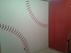 The baseball wall we painted in Braden's bedroom. <3