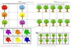 Everybody loves trees. Some provide shade; some provide food and some shelter for birds. Students can have fun cutting and pasting while practicing various skills. This Trees For All Seasons Worksheet set consists of the following worksheets; Color Matching, What Comes Next, Letter-upper case, low case Matching, Shape Matching, Number Matching, Counting, Addition, Subtraction, Which is one is different? Which group has more? Which group has less? Count the trees.