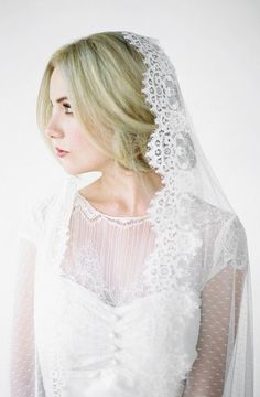 ESMA Spotted Mantilla Wedding Veil Mantilla Veil