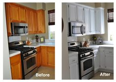 Refinished kitchen cabinets, oak to white, using Rust-Oleum Cabinet Transformations kit. Also adding new, brushed chrome hardware.
