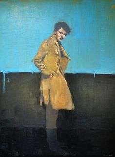"""Michael Carson """"Man in Jacket"""" 30"""" x 40"""" Oil on canvas"""