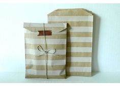 stripe brown paper bags $5.50 for set of 20