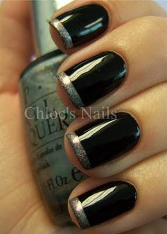 black polish, silver tips <3