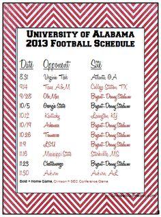 University of Alabama 2013 football schedule.